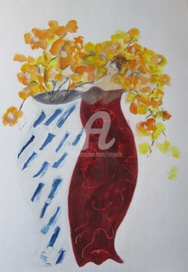vase bicolore et silhouette