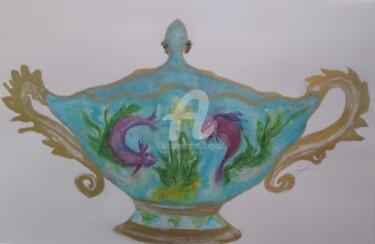 buste et porcelaine turquoise